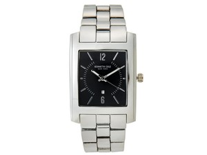 Kenneth Cole 10031326 Men's Silver Steel Bracelet With Black Analog Dial