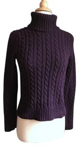 Ann Taylor Plum Cable Knit Turtleneck Sweater