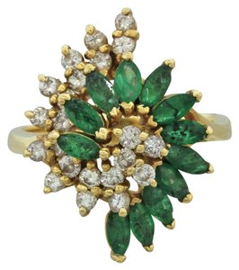 Other 14k Solid Yellow Gold .60ctw Emerald .44ctw Diamond Cluster Ring