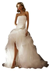 Organza And Tulle High Low With Beaded Flower Wedding Dress