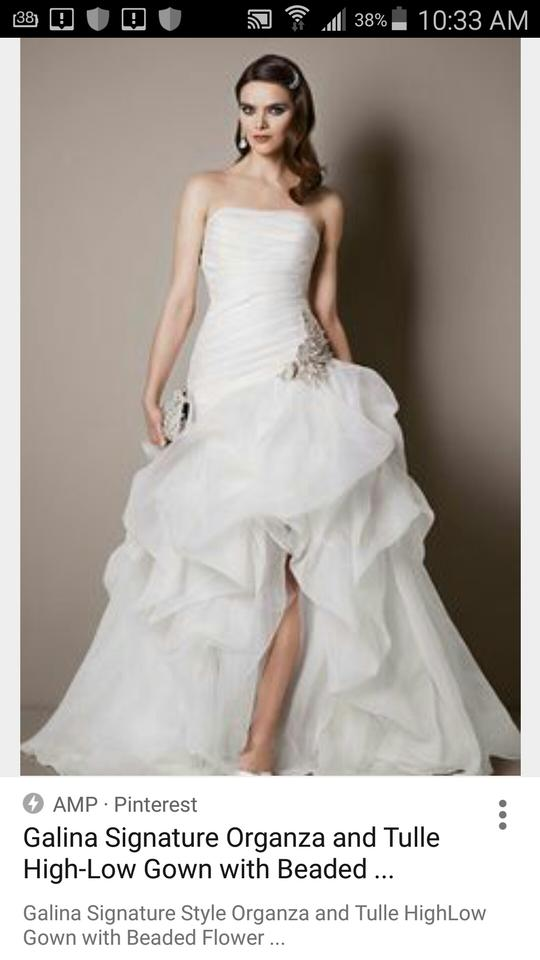 fd8dd9d391b Ivory Organza and Tulle High Low with Beaded Flower Sexy Wedding Dress Size  8 (M. 123
