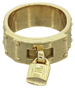 Hermès HERMES Kelly Bag 18k Yellow Gold Moveable Lock Charm Band Ring
