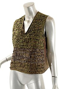 dosa Easter Spring Silk Sleeveless Top Green
