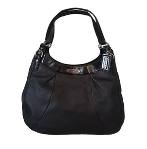 Coach Leather Patent Leather Silver Hardware Hobo Bag