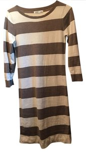 Old Navy short dress cream and tan Longsleeve Striped Sweater Sexy on Tradesy