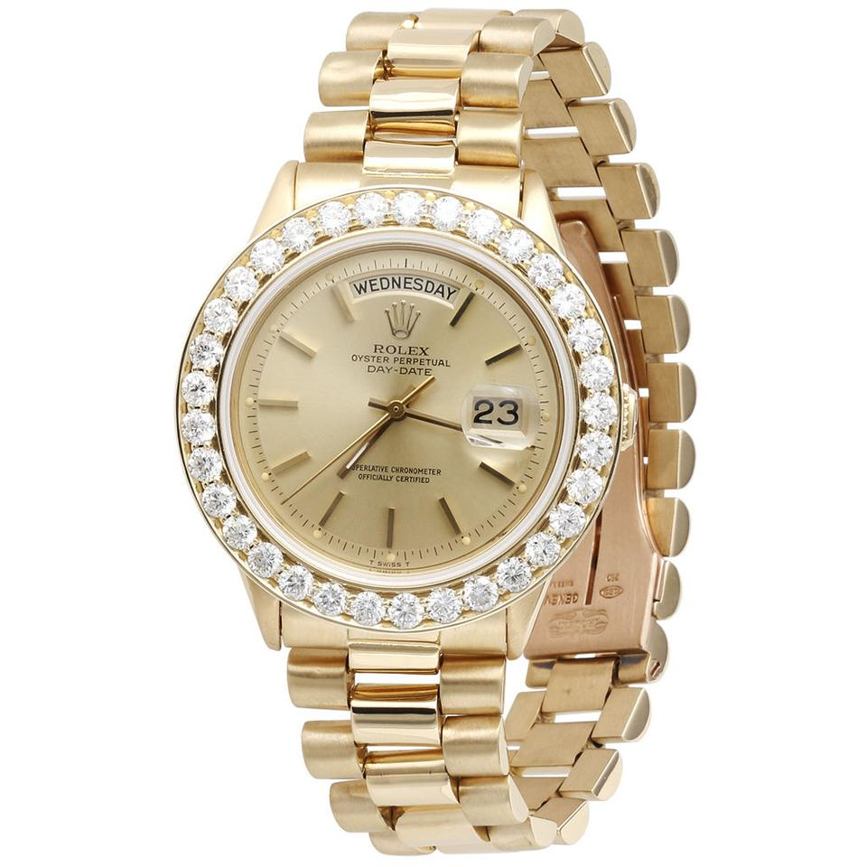 Rolex Gold Mens Diamond Day Date President 18k Yellow With Band Watch 62 Off Retail