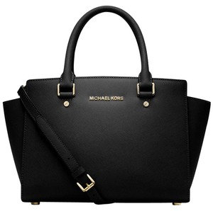 Michael Kors Designer Saffiano Leather Silver-tone Hardware Satchel in Black