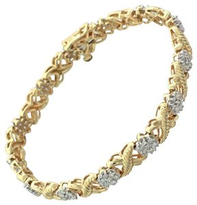 Other 14k Solid Yellow Gold 2.75ct Diamond Kiss XXX Link Cluster Bracelet