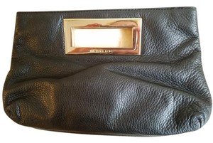 Michael Kors Satin Gold Hardware Logo Leather Black Clutch