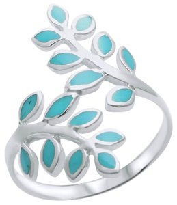 9.2.5 Beautiful 925 turquoise inlay leaves ring size 9