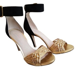 Joan & David Leather Night Out Date Night Casual Black and gold Sandals
