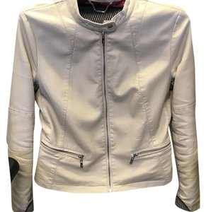 Black Rivet ivory Leather Jacket