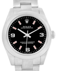 Rolex Rolex Midsize Black Dial Pink Hour Markers Steel Ladies Watch 177200