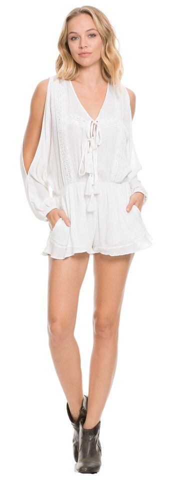6ae24be91f97 Elan White Long Sleeve Open Arm Romper Jumpsuit - Tradesy