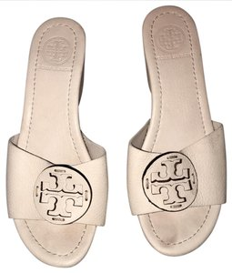 Tory Burch Leather Wedge Sandal Monogram White Platforms