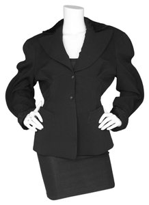 Thierry Mugler Wool Faux Fur Padded Black Jacket