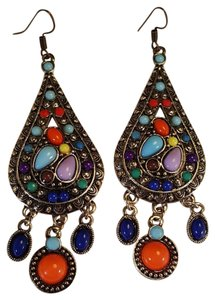 Joyme Ravishing Bohemian Antique Gold Resin Multi Color Earrings Dangle Hook