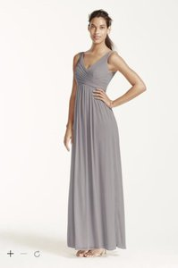 David's Bridal Mercury Long Mesh Dress With Cowl Back Detail - F15933 Dress