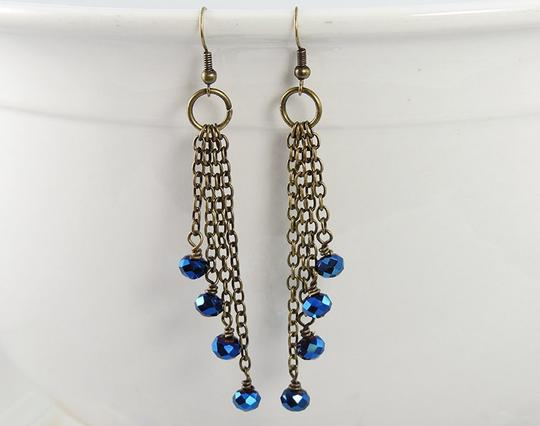 Handmade Beaded Czech glass Chain Dangle earrings