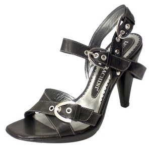 Other Leather Italian Import Covered Lucciano Barachini Off White Stitching Leather Lining Leather Insole Crisscross Strap black Platforms
