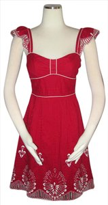 Nanette Lepore short dress Red Ebroidered Size 2 on Tradesy