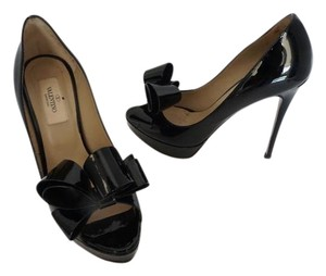 Valentino Bow Embelished Nude Stilettos Party Black Pumps