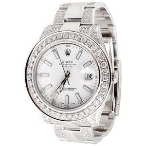 Rolex Men's Rolex DateJust II Diamond White Stainless Steel 41mm Watch 9 CT.