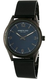 Kenneth Cole 10031384 Men's Black Steel Bracelet With Blue Analog Dial