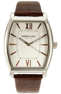 Kenneth Cole 10031321 Men's Brown Leather Bracelet With Silver Analog Dial