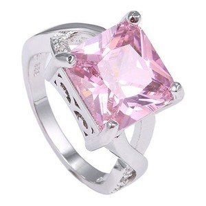 Other DF18 Pink 8 Carat Cubic Zirconia Statement 925 Silver Plated Ring