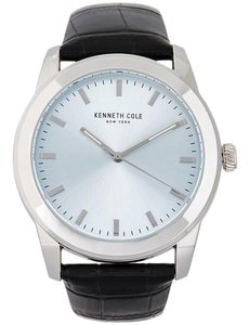 Kenneth Cole 10031336 Men's Black Leather Bracelet With Blue Analog Dial
