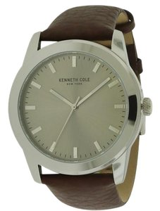 Kenneth Cole 10031337 Men's Brown Leather Bracelet With Grey Analog Dial