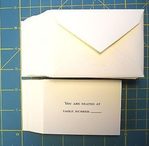Paper Crane White Block Lettering Engraved Table Cards & Envelopes