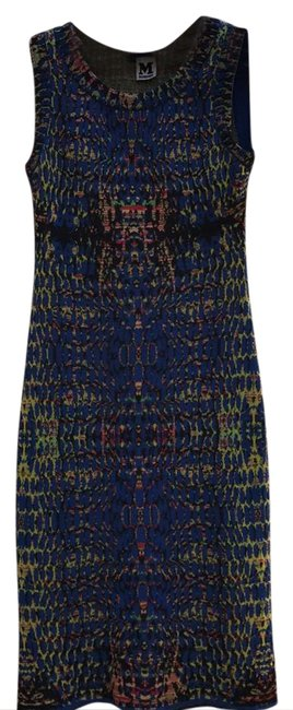 Missoni Múltiple. Main Color Blue Fitted Short Cocktail Dress Size 0 (XS) Missoni Múltiple. Main Color Blue Fitted Short Cocktail Dress Size 0 (XS) Image 1