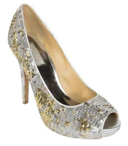Badgley Mischka Sequins Silver Pumps