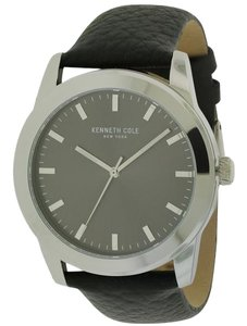 Kenneth Cole 10031338 Men's Black Leather Bracelet With Grey Analog Dial