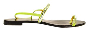 Giuseppe Zanotti Strappy Leather Crystal Neon green Flats