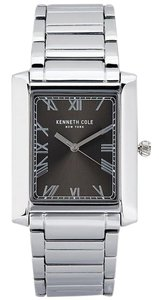 Kenneth Cole 10031344 Men's Silver Steel Bracelet With Gunmetal Analog Dial