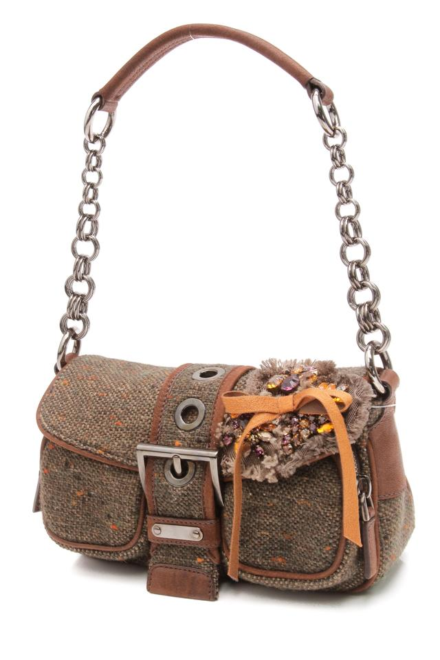 12249b6758b7 Prada Visone Ricamo Brown Tweed Shoulder Bag - Tradesy