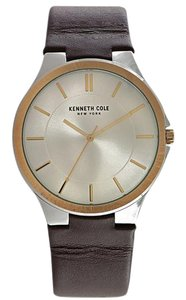 Kenneth Cole 10031358 Men's Brown Leather Bracelet With Silver Analog Dial
