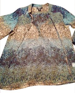 Como Clothing Sheer Flowy Top Blue and brown