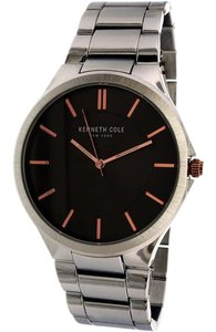 Kenneth Cole 10031359 Men's Silver Steel Bracelet With Black Analog Dial