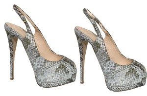 Giuseppe Zanotti Snake Skin Embossed with Gold Accents Platforms