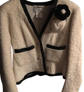 Chanel Vintage White Shearling and Black Leather Trim Blazer with Flower Pins White with Black trim Blazer