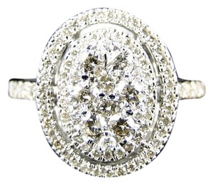 Other 14K White Gold Ladies Round Cut Diamond Engagement Band Ring .90 Ct