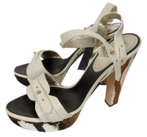 Roberto Cavalli Size 9 Satin Two-tone Brown/Ivory Sandals