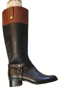 Bandolino Knee Riding Equestrian Two Tone black/saddle Boots