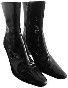 Aquatalia Patent Leather Ankle Pointy Toe Weatherproof Black Boots