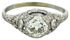 Other 1920s ArtDeco Platinum .83ct Diamond Sapphire Engagement Ring EGL