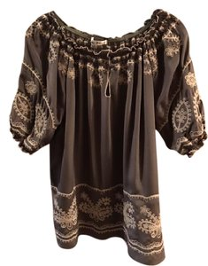 Blue Tassel Embroidered Tunic Top grey with beige trim